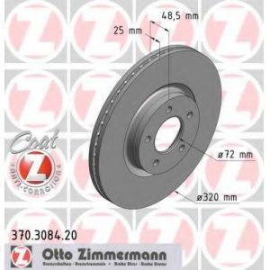 Диск тормозной передний (370 3084 20) OTTO ZIMMERMANN - Німеч-на
