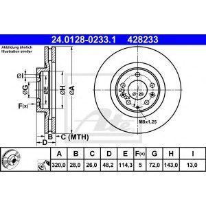 Диск тормозной передний (24.0128-0233.1) ATE - Нім-на
